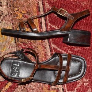 Vintage Nine West Brown Leather T Strap Heels 6